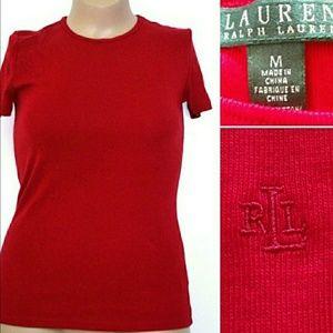 🆕Ralph Lauren M, 100% Cotton Red Logo Tee